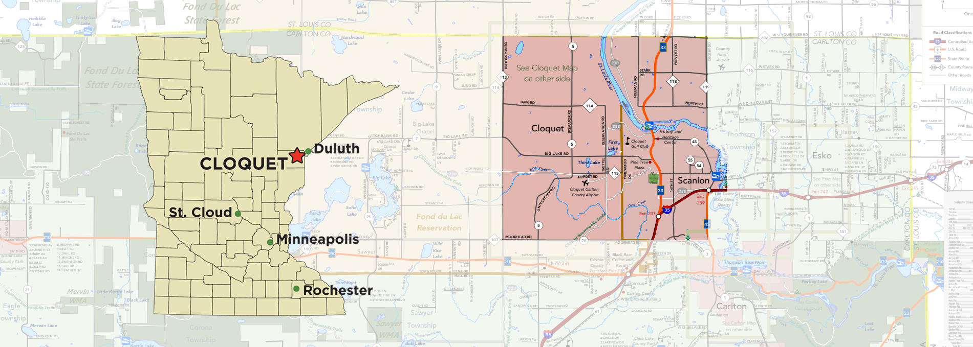 Cloquet Map